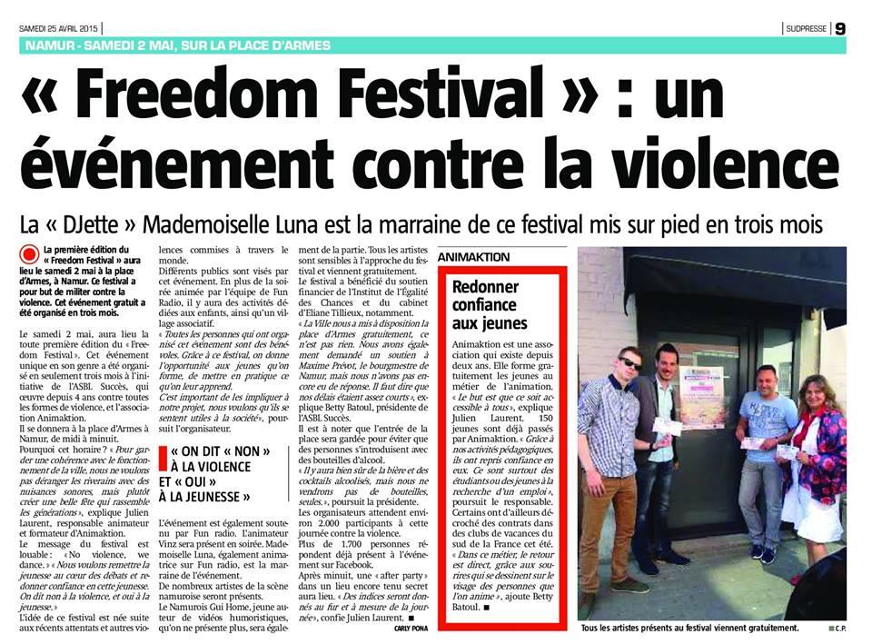 Freedom Festival, no violence we dance, SudPresse