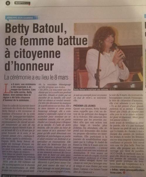 Betty batoul citoyenne d honneur
